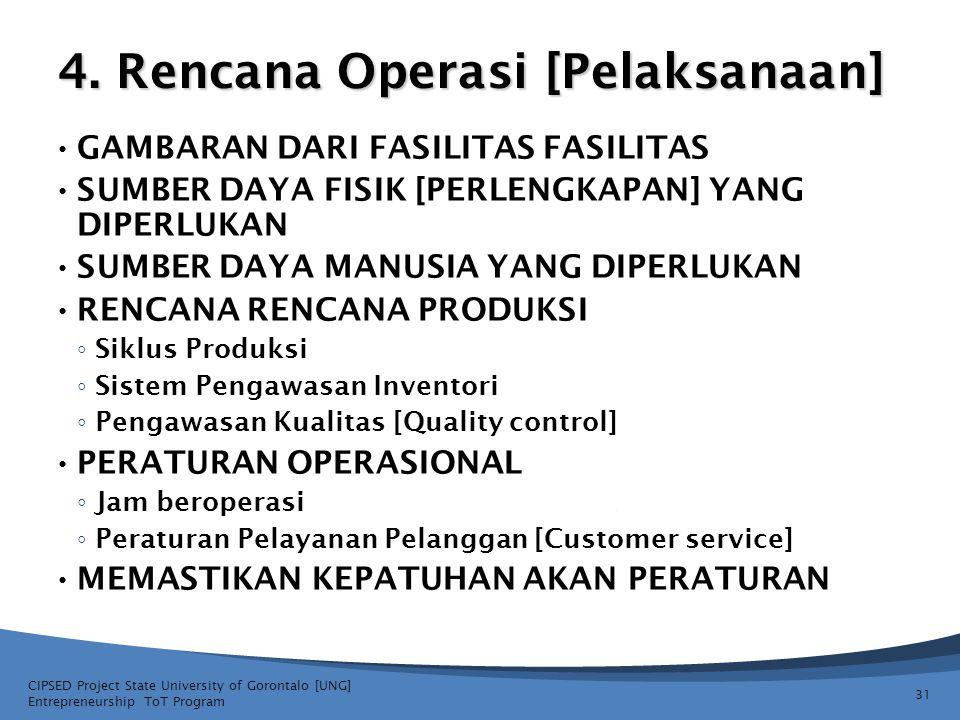 4. Rencana Operasi [Pelaksanaan]